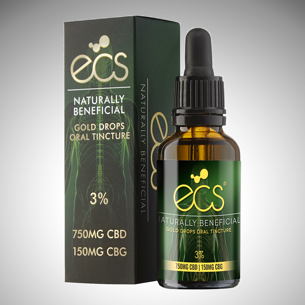 ECS® Gold Drops - Oral cannabinoid tincture 750MG CBD 150MG CBG